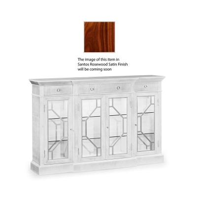 Jonathan Charles 4 Door Breakfront Display Cabinet with Stainless Steel Details, Satin