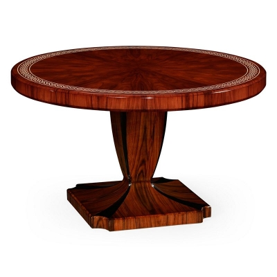 Jonathan Charles 51 inch Santos Rosewood Dining Table with Pedestal Leg with Bone Inlay High Sheen