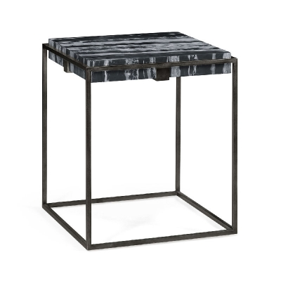 Jonathan Charles Square Iron End Table with a Black Marble Top