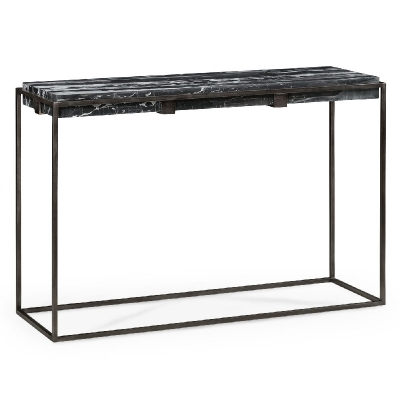 Jonathan Charles Rectangular Iron Console Table with a Black Marble Top