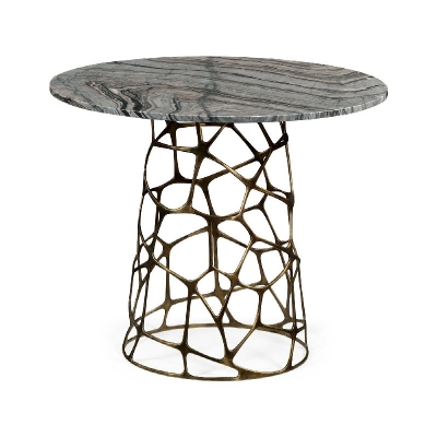 Jonathan Charles Round Geometic Brass Coffee Table with a Grey Marble Top