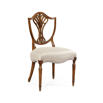 Jonathan Charles Sheraton Dining Side Chair with Shield Back in Brown Mahogany