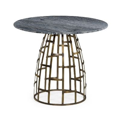 Jonathan Charles 36 inch Round Geometric Dome Brass Breakfast Table with a Grey Marble Top