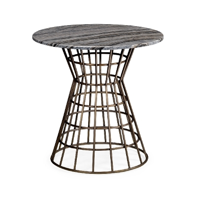 Jonathan Charles 25 inch Round Geometric Antique Brass Centre Table with a Grey Marble Top