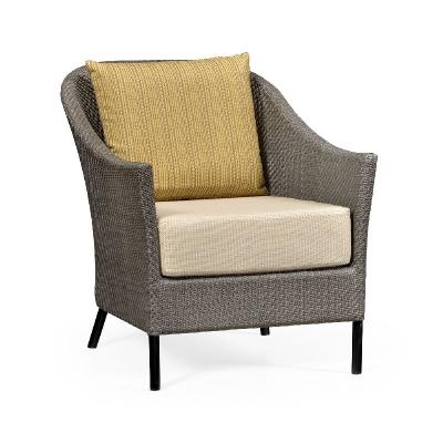 Jonathan Charles 27 inch Dark Grey Rattan Sofa Chair with Cushion and Pillow