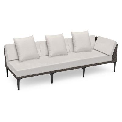 Jonathan Charles 98 inch Dark Grey Rattan Left Three-Seat Sofa Sectional