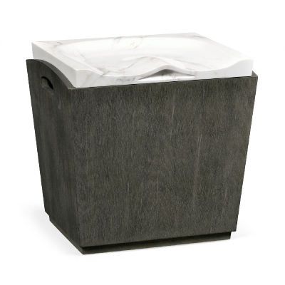 Jonathan Charles Rectangular Grey and Faux White Marble Storage Stool