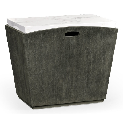 Jonathan Charles Rectangular Grey and Faux White Marble Storage End Table
