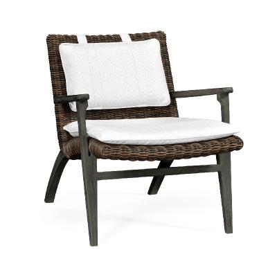 Jonathan Charles Grey and Rattan Lounge Chair