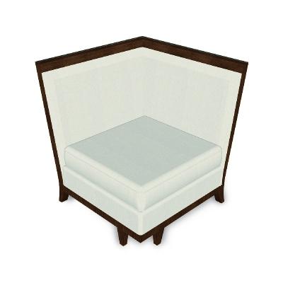 Jonathan Charles 35 inch Walnut and Tan Rattan Corner Sofa Sectional