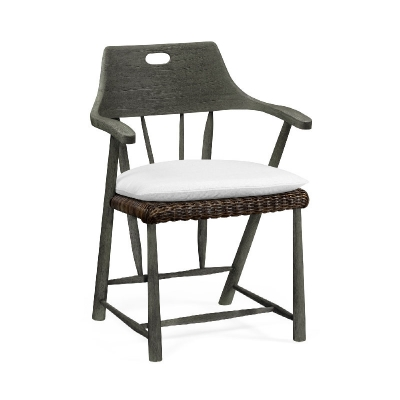 Jonathan Charles Smokers Style Grey and Rattan Dining Chair with Cushion