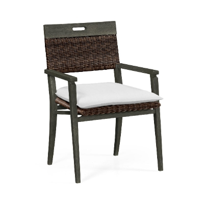 Jonathan Charles Square Back Grey and Rattan Dining Chair with Cushion