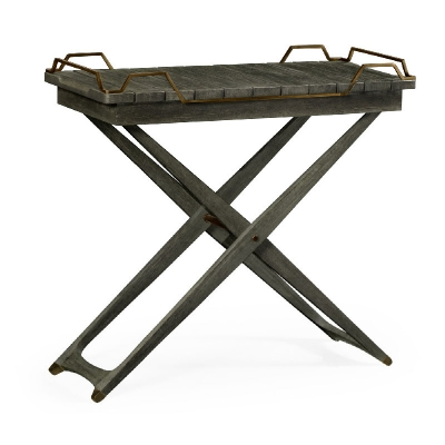 Jonathan Charles Rectangular Folding Grey and Antique Brass Tray Console Table