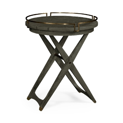 Jonathan Charles Round Folding Grey and Antique Brass Tray End Table
