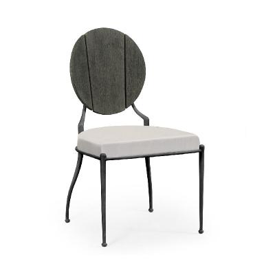 Jonathan Charles Circle Back Grey and Iron Dining Side Chair