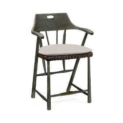 Jonathan Charles Smokers Style Grey and Rattan Bar Stool with Cushion
