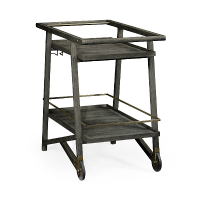 Jonathan Charles Tiered Grey and Antique Brass Bar Cart with Wheels