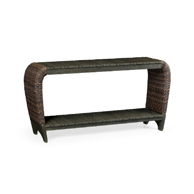 Jonathan Charles Rectangular Grey and Rattan Console Table with Curved Ends