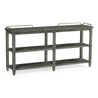 Jonathan Charles Rectangular Grey and Brass Sideboard with Removable Tray