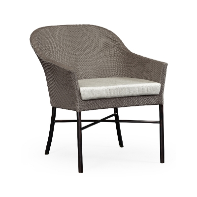 Jonathan Charles Rounded Back Mocha Steel and Dark Grey Rattan Dining Chair with Cushion