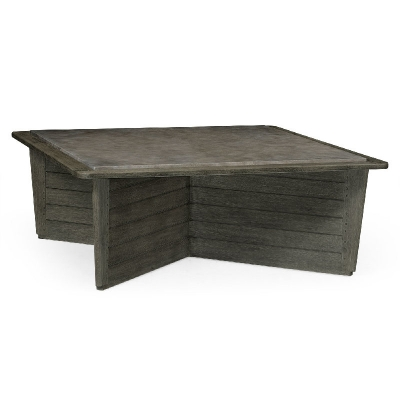 Jonathan Charles Square Grey and Concrete Coffee Table with An X-Base