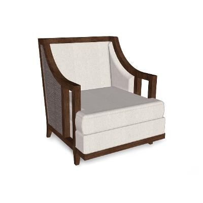 Jonathan Charles 31 inch Walnut and Dark Grey Rattan Sofa Chair
