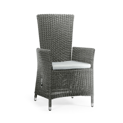 Jonathan Charles Grey Wicker Rattan Dining Chair with Reclining Back