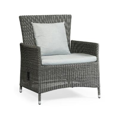 Jonathan Charles 34 inch Grey Wicker Rattan Sofa Chair with Reclining Back