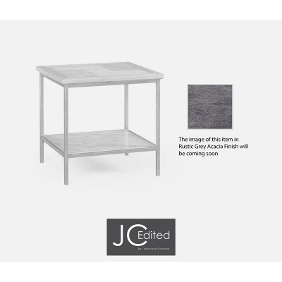 Jonathan Charles Antique Dark Grey Square End Table with Grey Silver Base