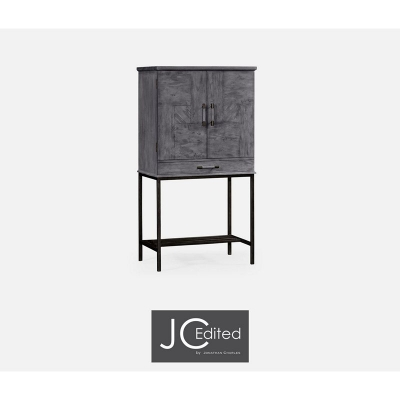 Jonathan Charles Antique Dark Grey Drinks Cabinet with Grey Silver Base