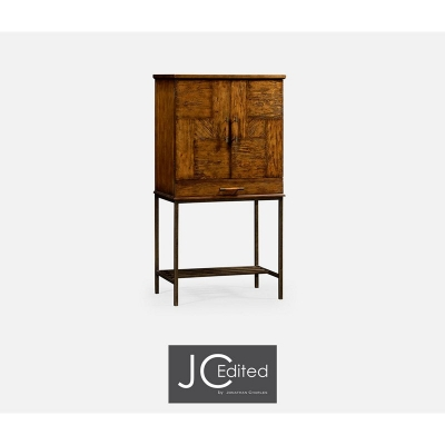 Jonathan Charles Country Walnut Drinks Cabinet with Light Bronze Base