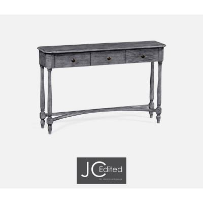 Jonathan Charles Antique Dark Grey Three Drawer Large Console Table