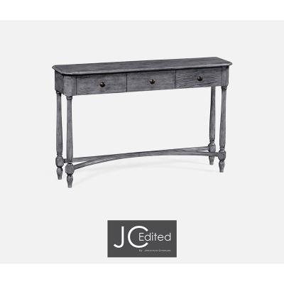 Jonathan Charles Antique Dark Grey Three Drawer Large Console Table