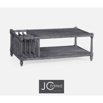 Jonathan Charles Antique Dark Grey Rectangular Coffee Table with Magazine Rack