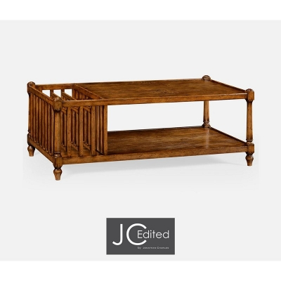 Jonathan Charles Country Walnut Rectangular Coffee Table with Magazine Rack