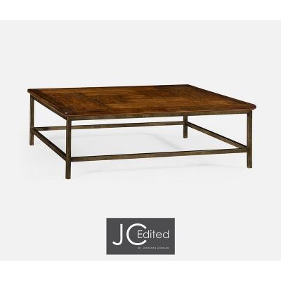 Jonathan Charles Country Walnut Square Coffee Table with Light Bronze Base