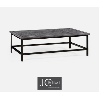 Jonathan Charles Antique Dark Grey Rectangular Coffee Table with Grey Silver Base