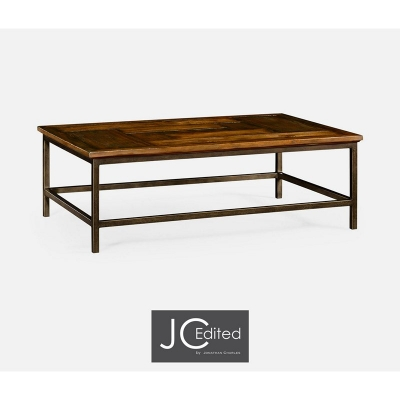 Jonathan Charles Country Walnut Rectangular Coffee Table with Light Bronze Base