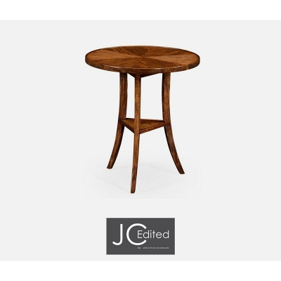 Jonathan Charles Walnut Country Style Round Lamp Table