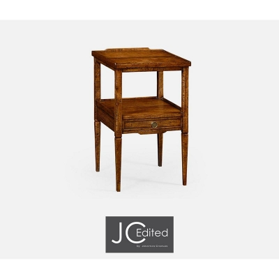 Jonathan Charles Walnut Square Lamp Table with Drawer