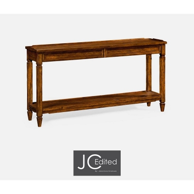 Jonathan Charles Console Table with Drawers in Rustic Walnut