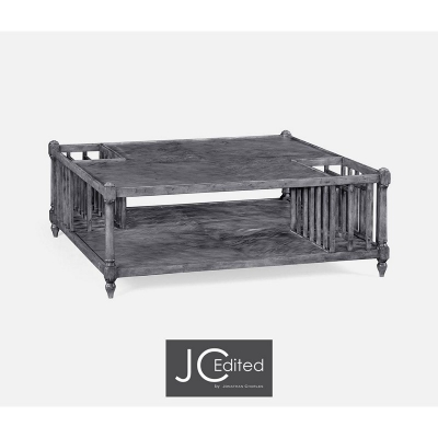Jonathan Charles Antique Dark Grey Square Coffee Table with Magazine Rack