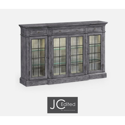 Jonathan Charles Four Door China Display Cabinet in Antique Dark Grey