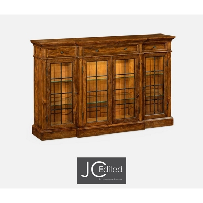 Jonathan Charles Four Door China Display Cabinet in Rustic Walnut