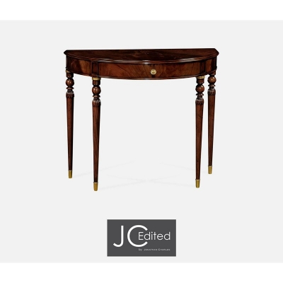Jonathan Charles Demilune Console Table of Drawer in Antique Mahogany