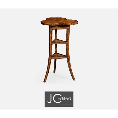 Jonathan Charles Plank Walnut Trefoil Side Table