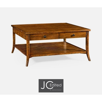 Jonathan Charles Square Coffee Table in Country Walnut