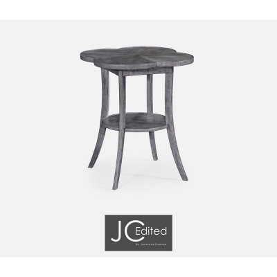 Jonathan Charles Quatrefoil Lamp Table in Antique Dark Grey