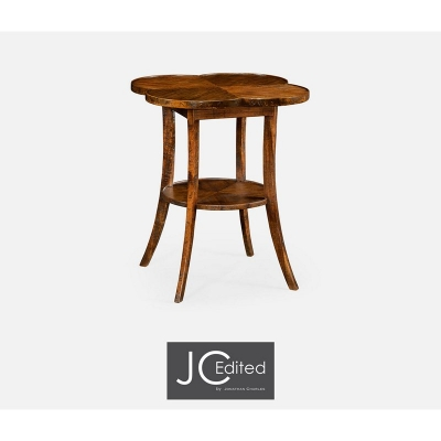 Jonathan Charles Quatrefoil Lamp Table in Country Walnut