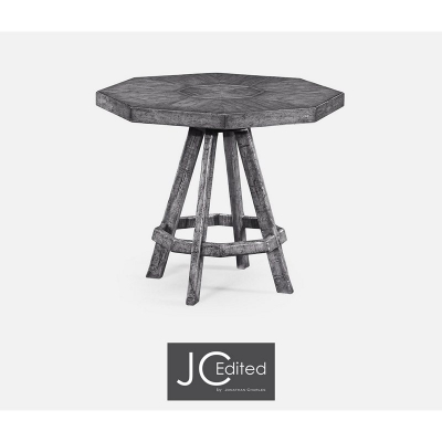 Jonathan Charles Antique Dark Grey Side Table with Octagonal Top